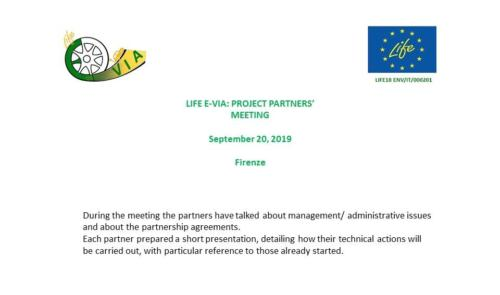 LIFE E-VIA: PROJECT PARTNERS' MEETING  September 20, 2019