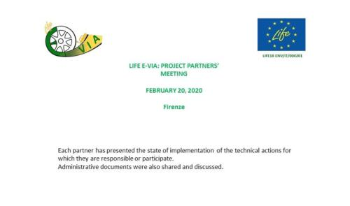 LIFE E-VIA: PROJECT PARTNERS' MEETING   February 20, 2020